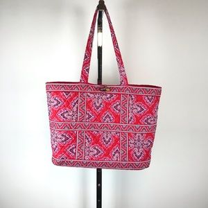 Vera Bradley Red Bandana Quilted Large Tote